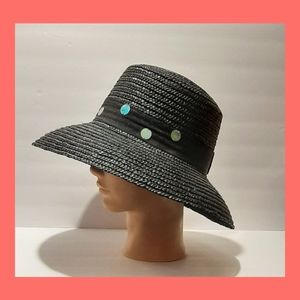 Vintage Black Straw Hat With Sequin Detail
